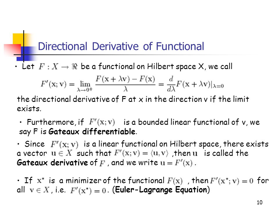 Directional Derivative of Functional
