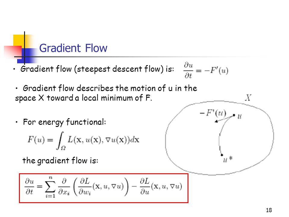 Gradient Flow Gradient flow (steepest descent flow) is: