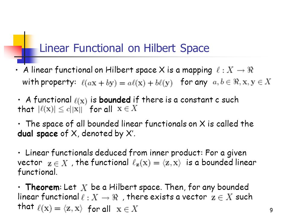 Linear Functional on Hilbert Space
