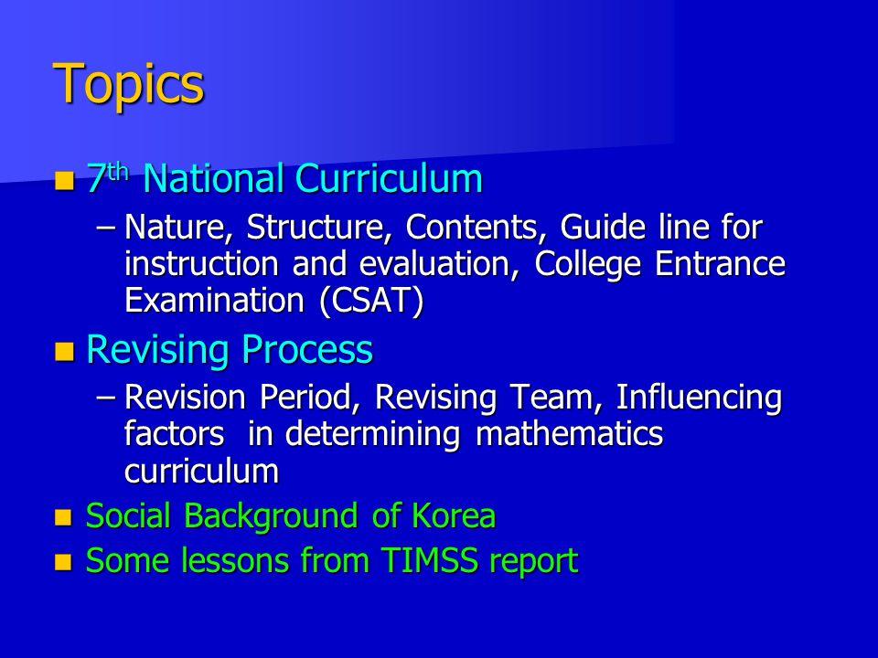 Topics 7th National Curriculum Revising Process