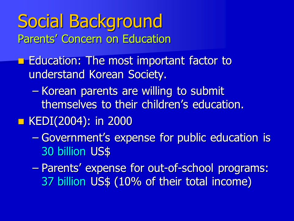 Social Background Parents' Concern on Education