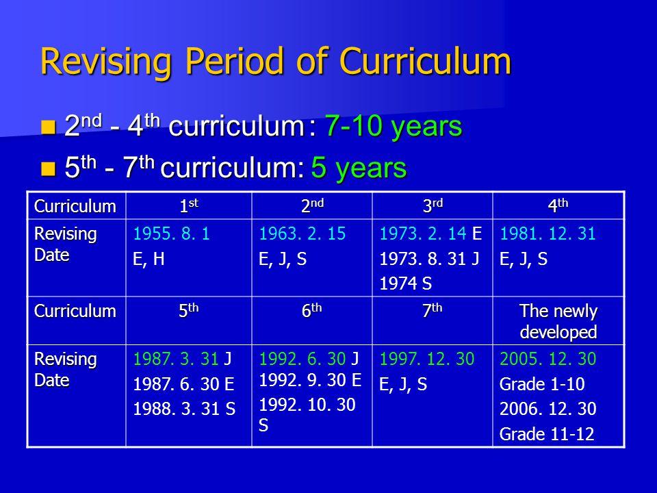 Revising Period of Curriculum