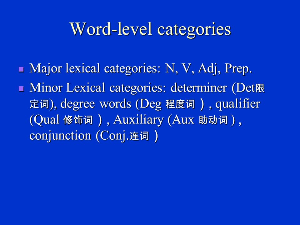 Word-level categories