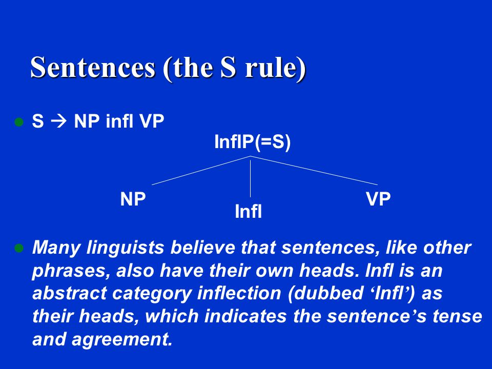 Sentences (the S rule) S  NP infl VP