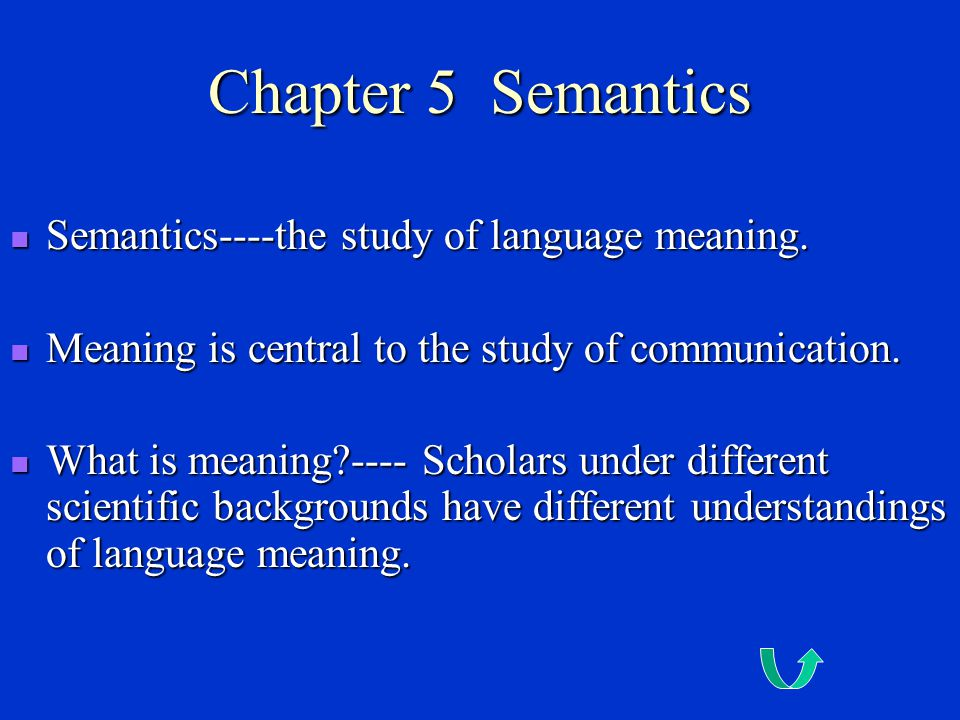 Chapter 5 Semantics Semantics----the study of language meaning.