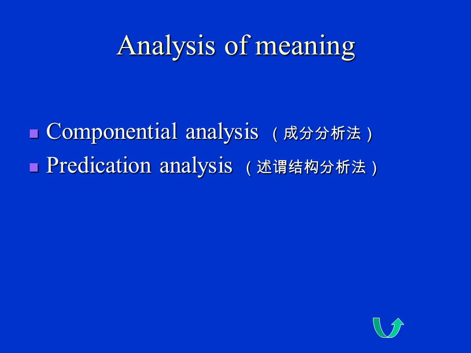 Analysis of meaning Componential analysis (成分分析法)