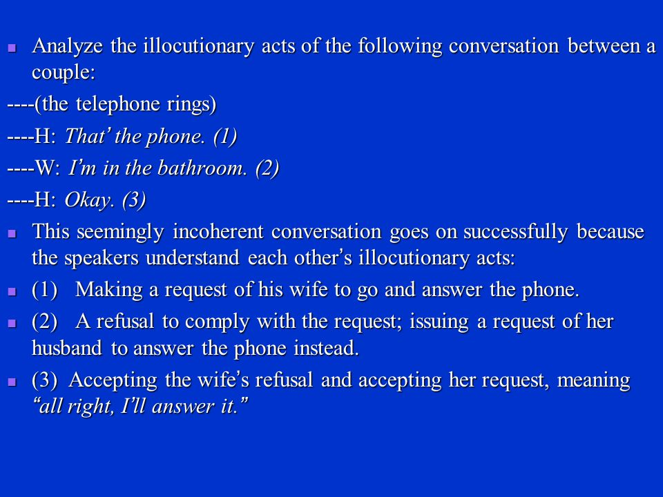 Analyze the illocutionary acts of the following conversation between a couple: