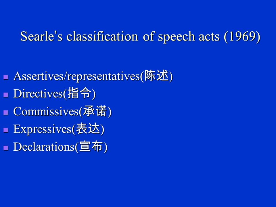 Searle's classification of speech acts (1969)