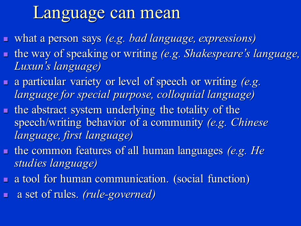 Language can mean what a person says (e.g. bad language, expressions)