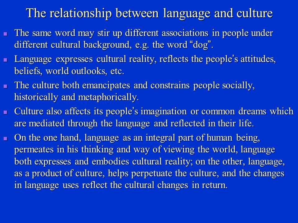 The relationship between language and culture
