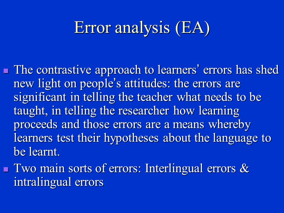 Error analysis (EA)