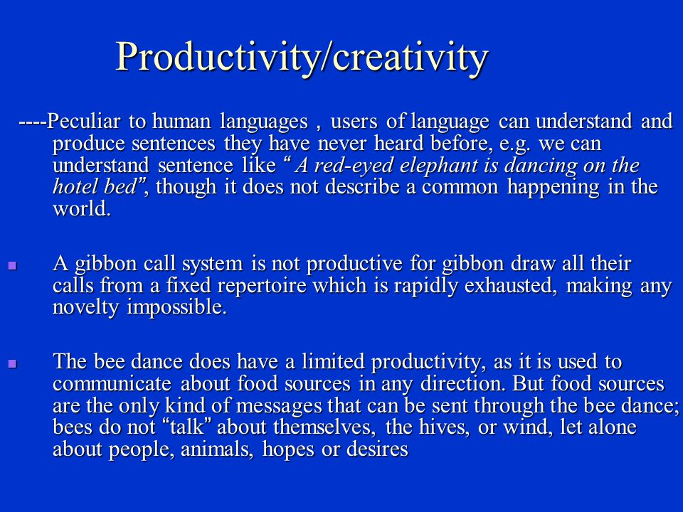 Productivity/creativity