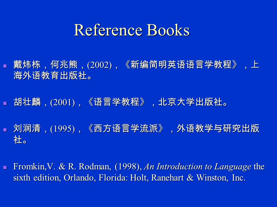 Reference Books 戴炜栋,何兆熊,(2002),《新编简明英语语言学教程》,上海外语教育出版社。