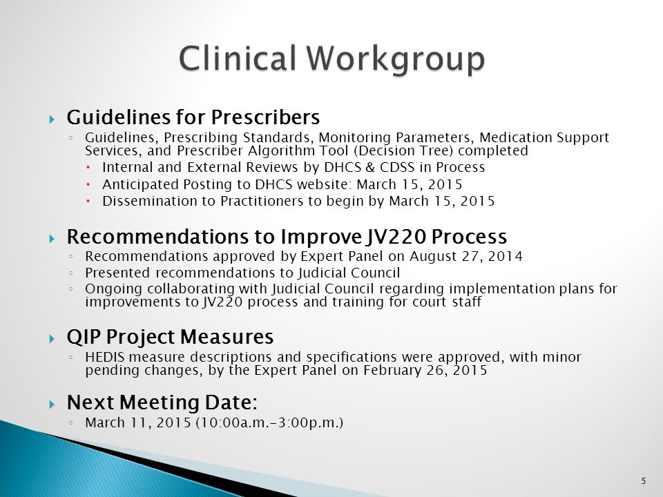 Clinical Workgroup Guidelines for Prescribers