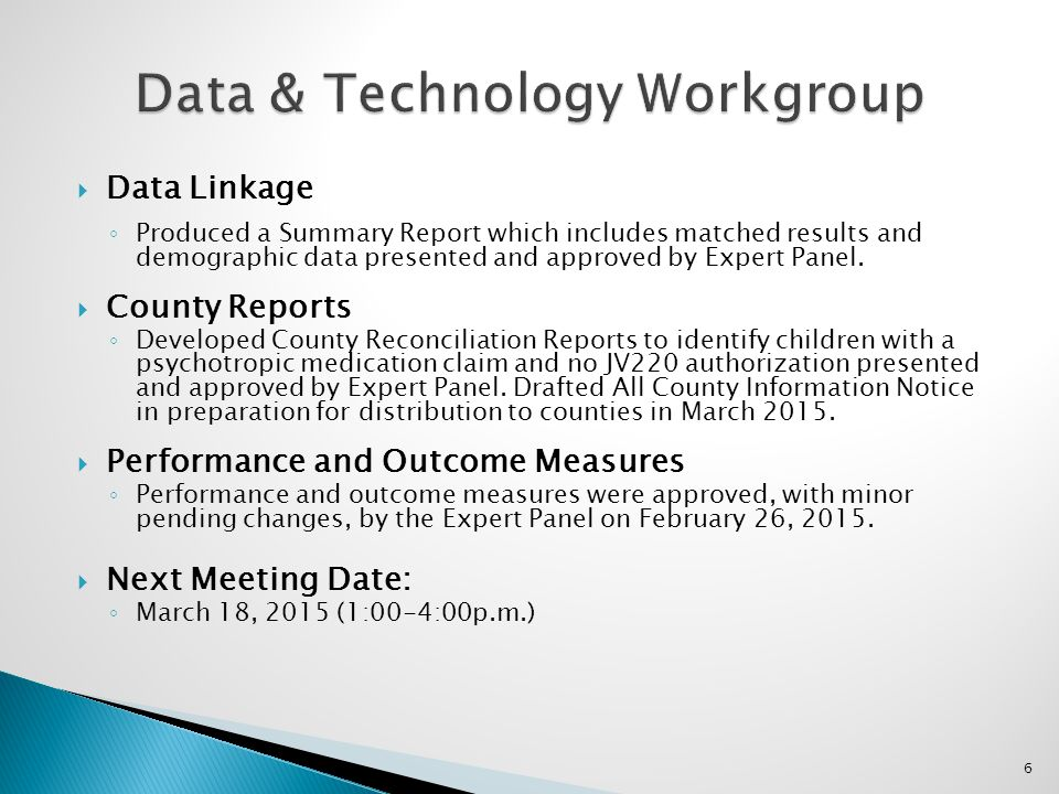 Data & Technology Workgroup