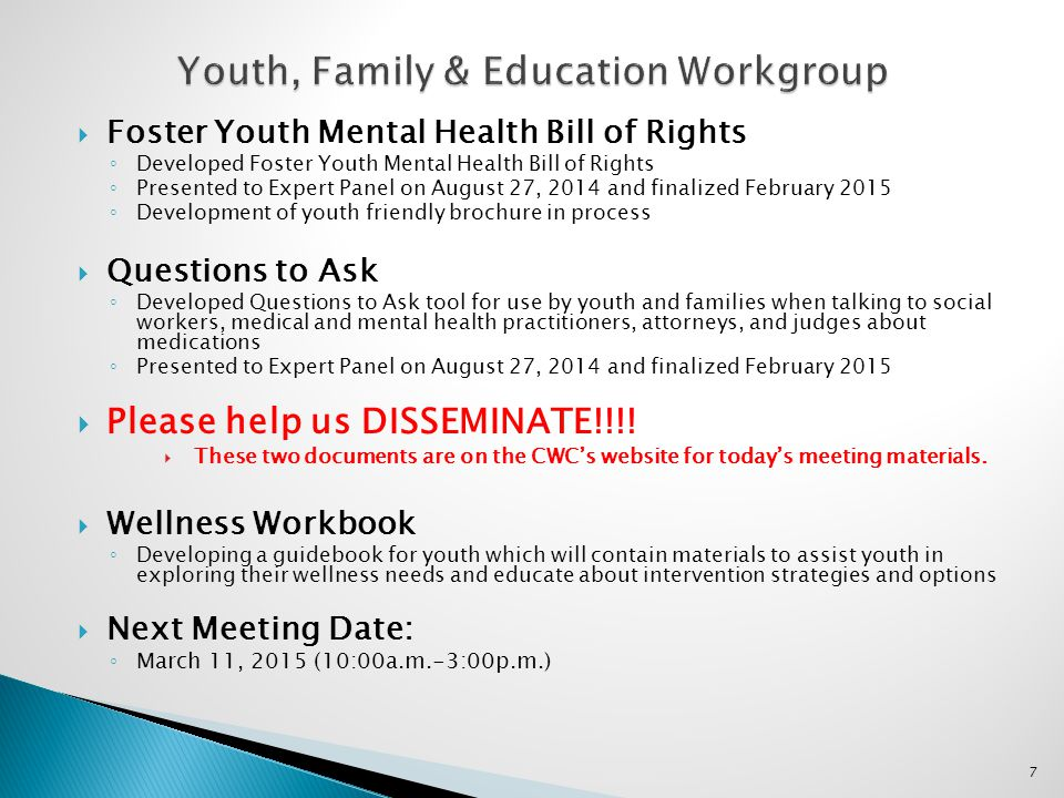 Youth, Family & Education Workgroup