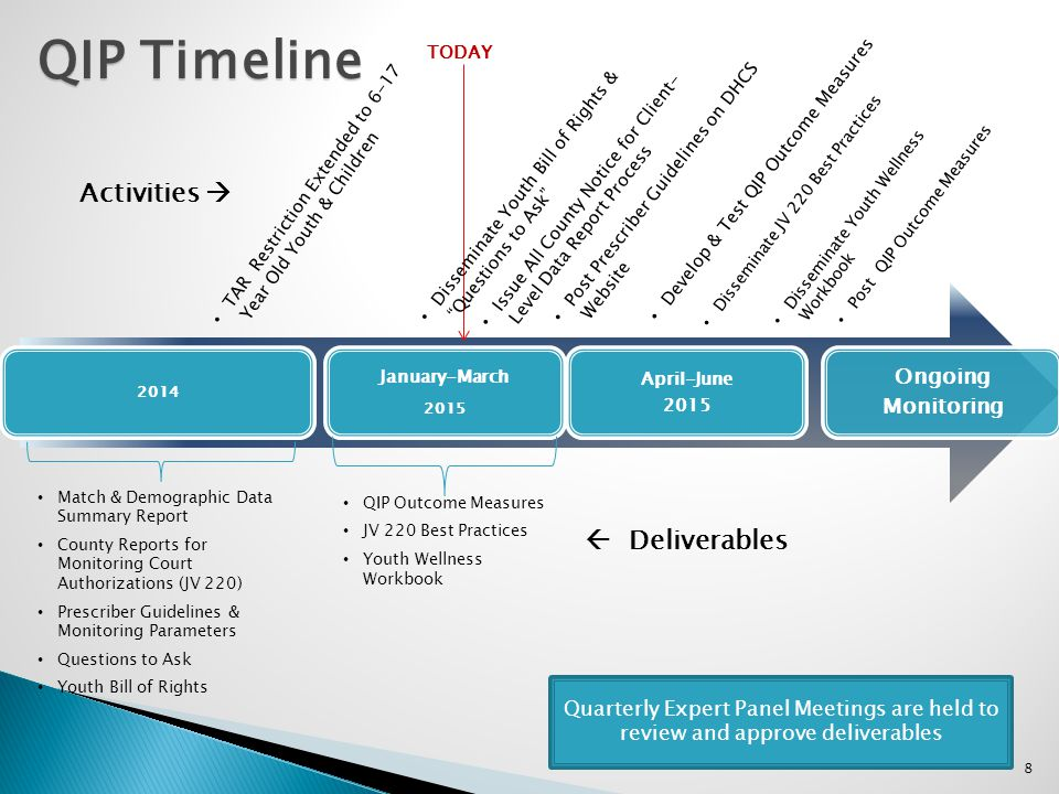 QIP Timeline Activities   Deliverables Ongoing Monitoring