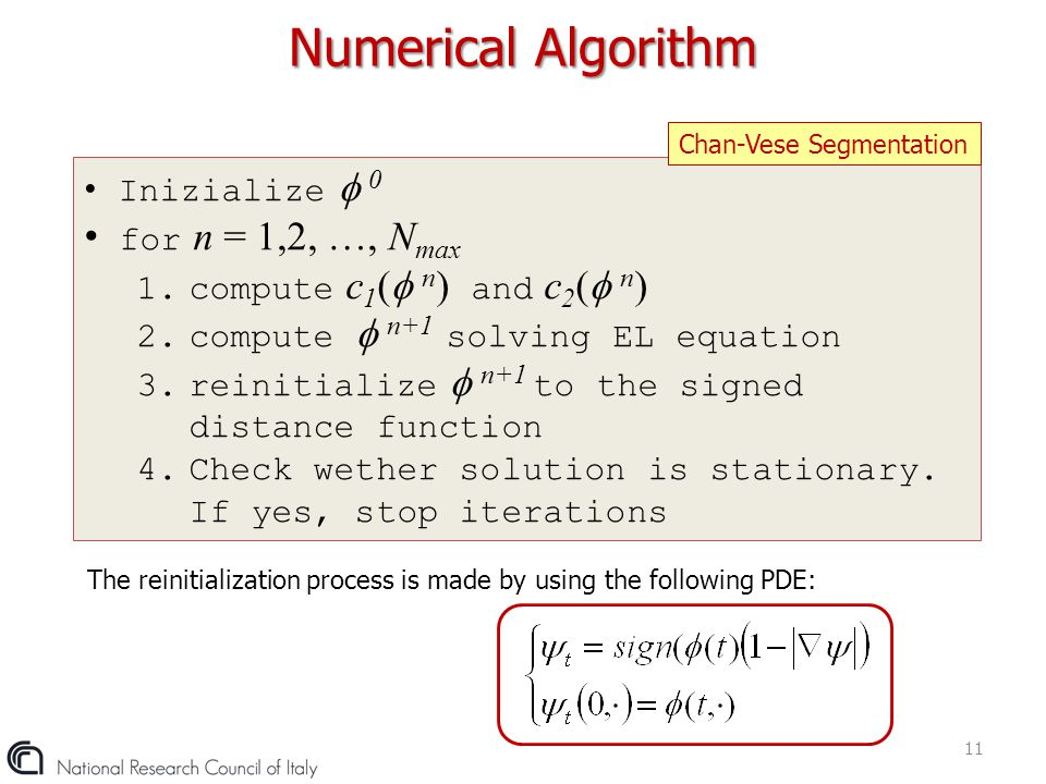 Numerical Algorithm for n = 1,2, …, Nmax Inizialize  0
