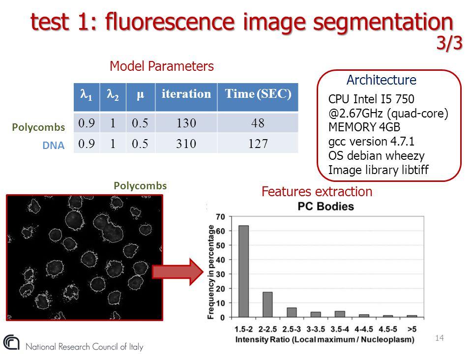 test 1: fluorescence image segmentation
