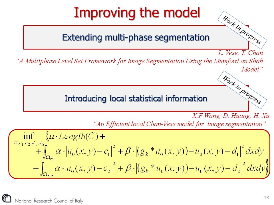 Improving the model Extending multi-phase segmentation
