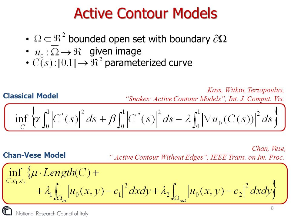 Active Contour Models bounded open set with boundary ∂Ω given image
