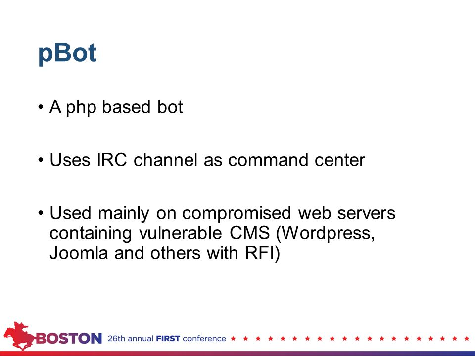 pBot A php based bot Uses IRC channel as command center