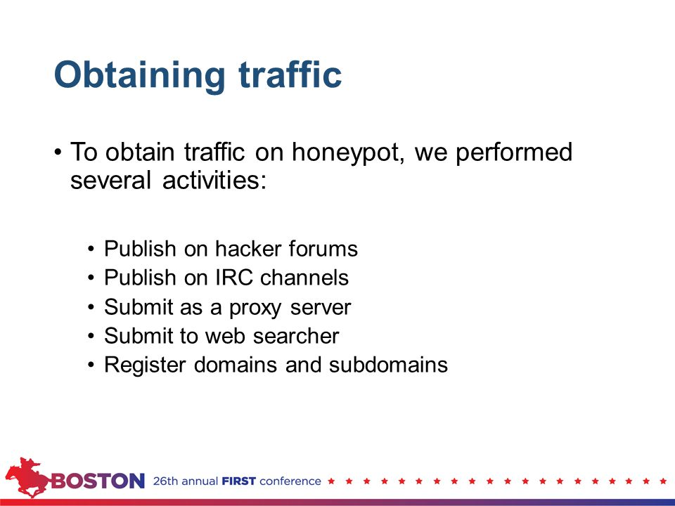 Obtaining traffic To obtain traffic on honeypot, we performed several activities: Publish on hacker forums.