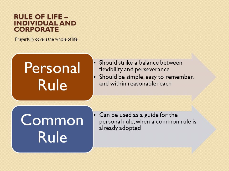 Rule of life – Individual and corporate