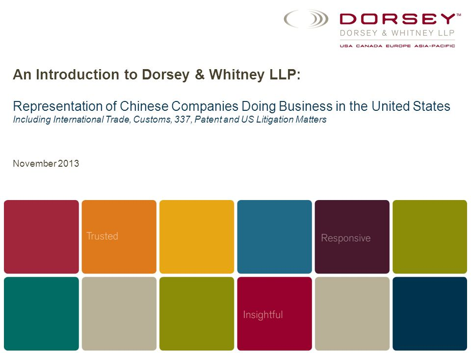 An Introduction to Dorsey & Whitney LLP: