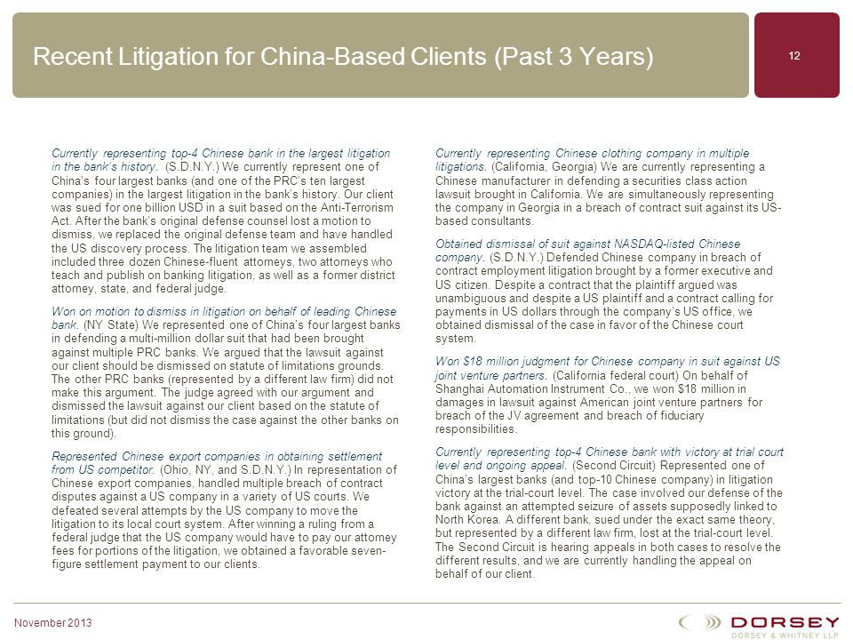 Recent Litigation for China-Based Clients (Past 3 Years)