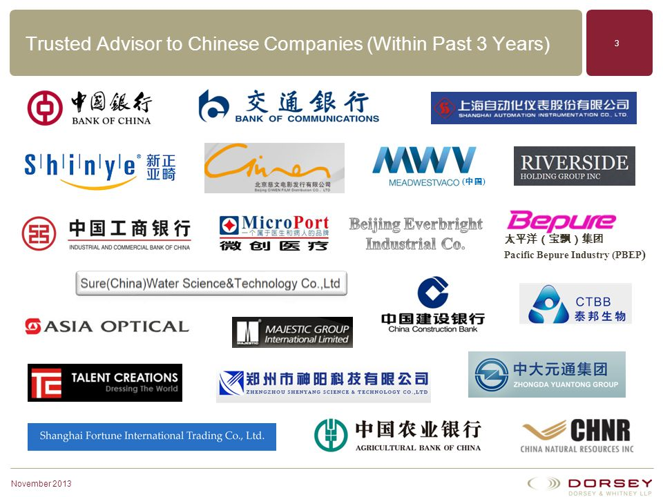 Trusted Advisor to Chinese Companies (Within Past 3 Years)