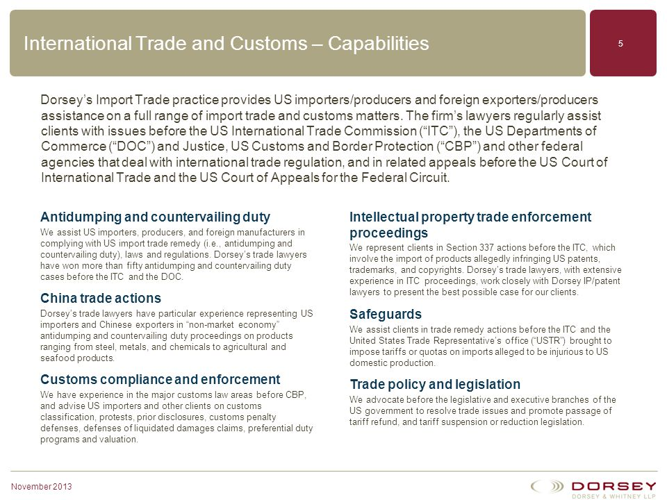 International Trade and Customs – Capabilities