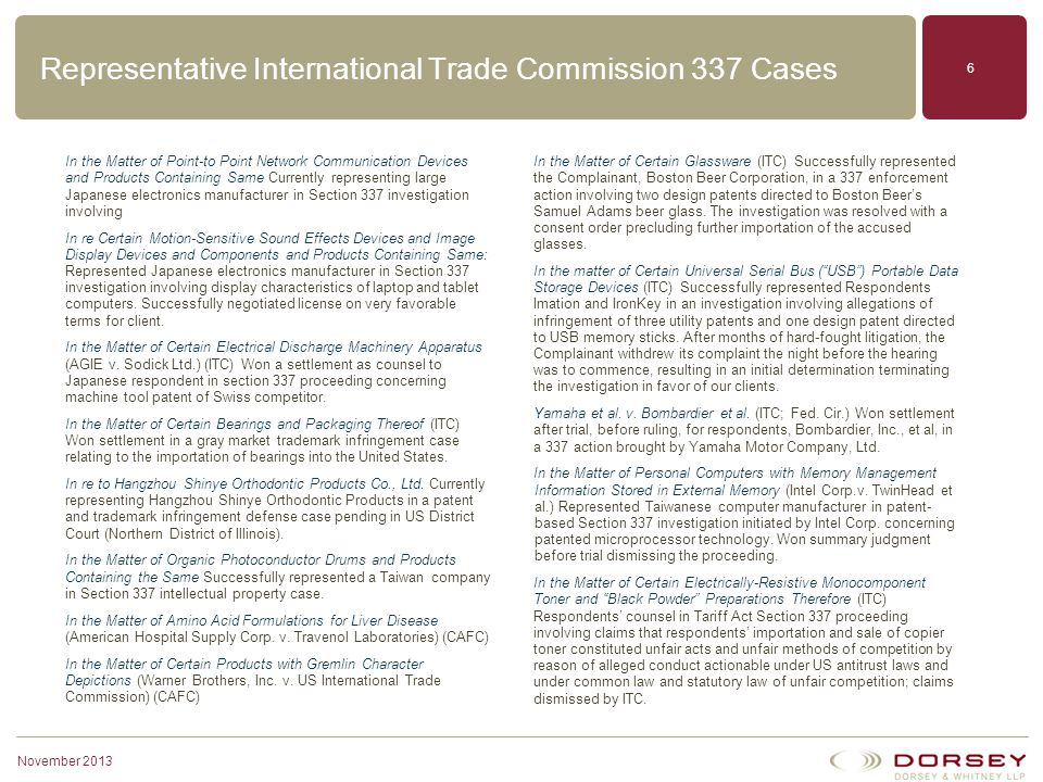 Representative International Trade Commission 337 Cases