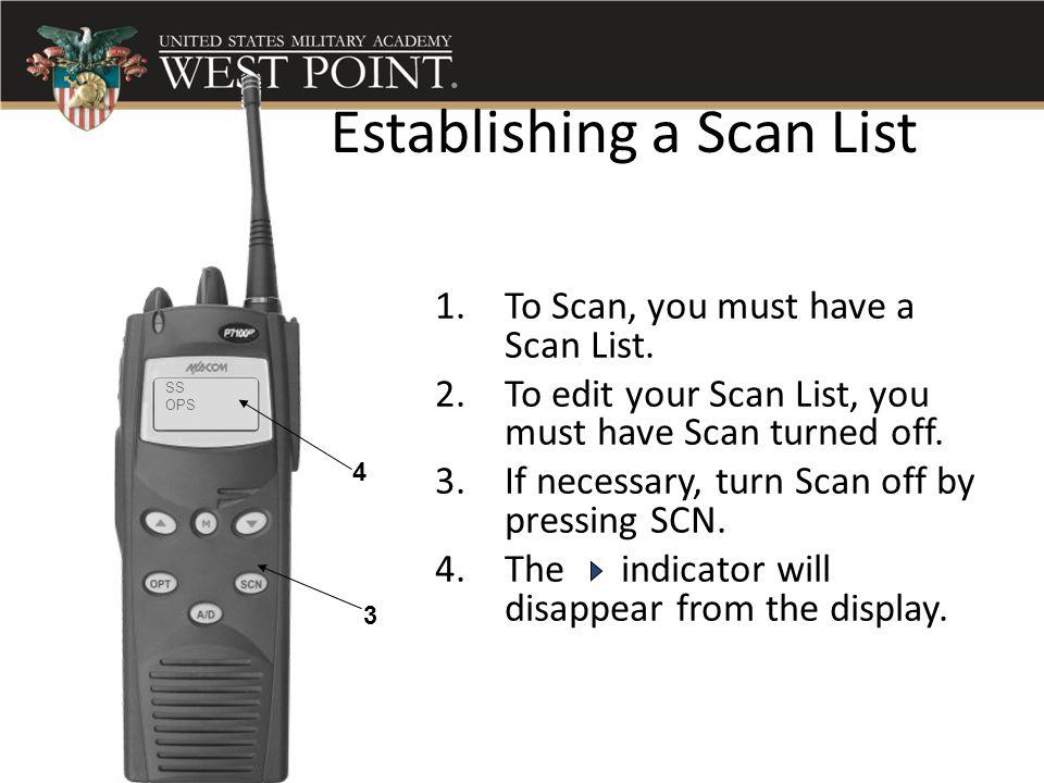 Establishing a Scan List