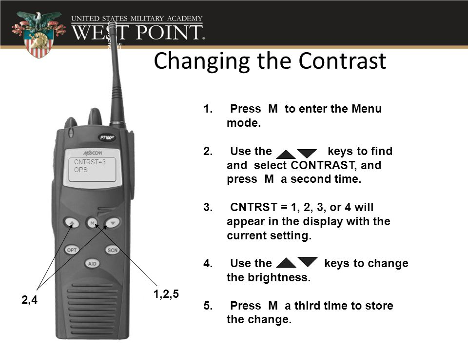Changing the Contrast Press M to enter the Menu mode.