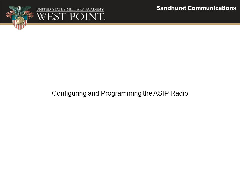 Configuring and Programming the ASIP Radio