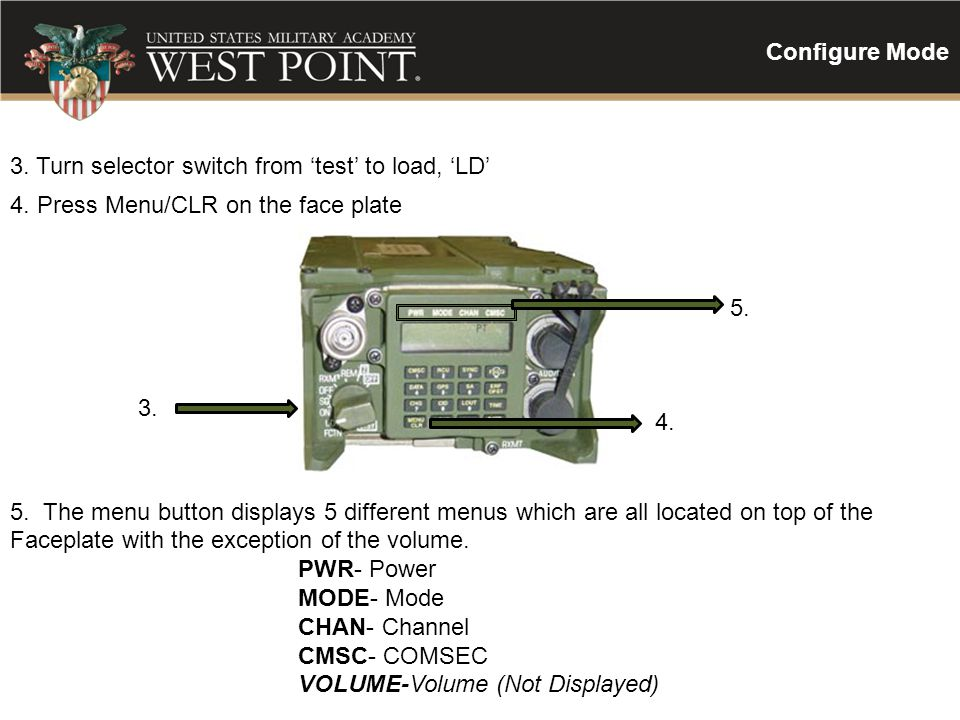 Configure Mode 3. Turn selector switch from 'test' to load, 'LD' 4. Press Menu/CLR on the face plate.