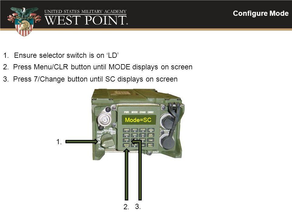 Ensure selector switch is on 'LD'