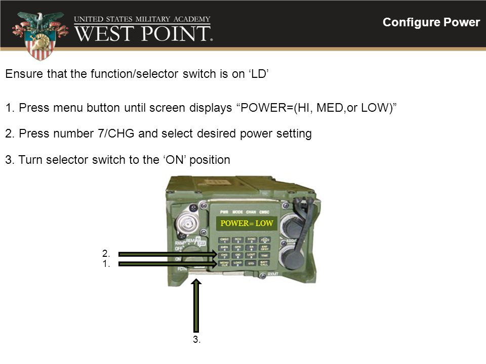 Ensure that the function/selector switch is on 'LD'