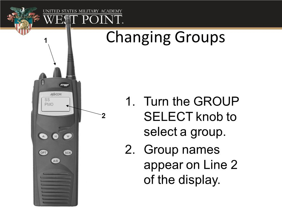 Changing Groups Turn the GROUP SELECT knob to select a group.