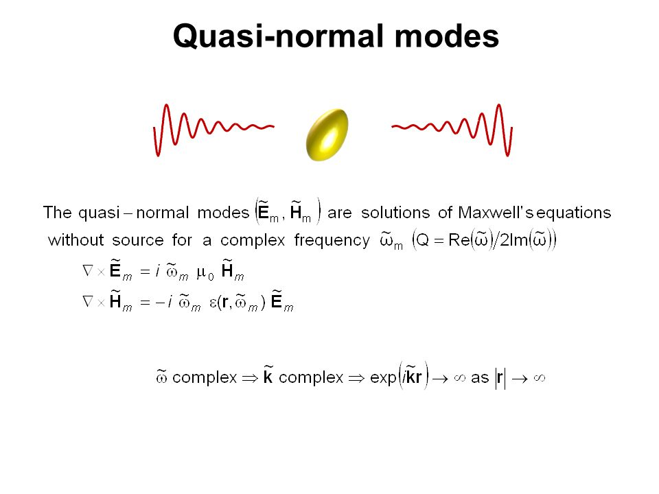 Quasi-normal modes Befor moving to the modal expansion, let us take a look to the modes themselves.