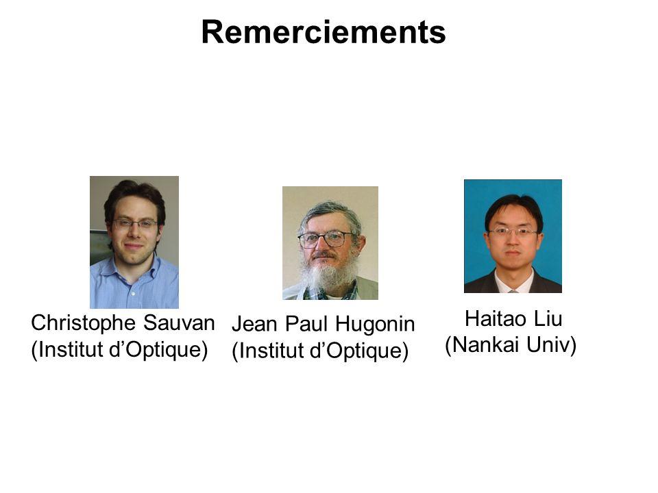 Remerciements Haitao Liu Christophe Sauvan Jean Paul Hugonin