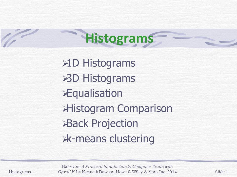 Histograms 1D Histograms 3D Histograms Equalisation
