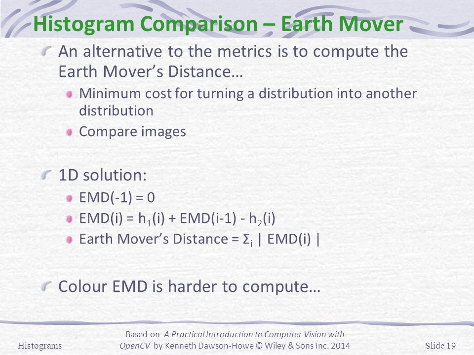 Histogram Comparison – Earth Mover