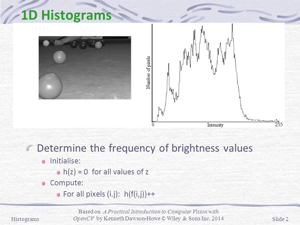 1D Histograms Determine the frequency of brightness values Initialise: