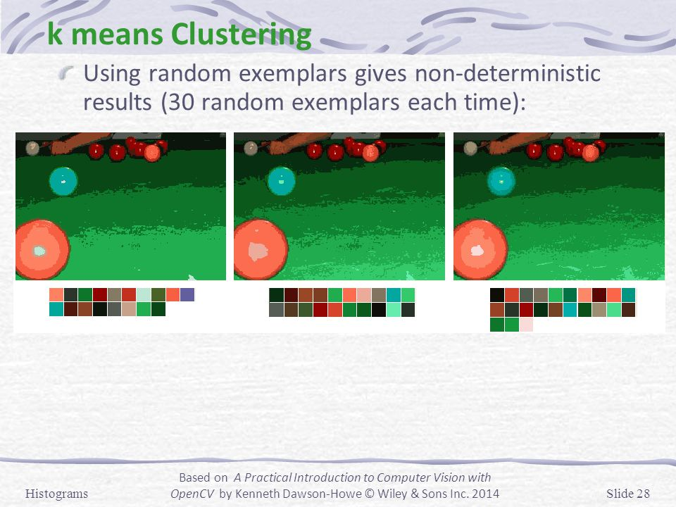 k means Clustering Using random exemplars gives non-deterministic results (30 random exemplars each time):