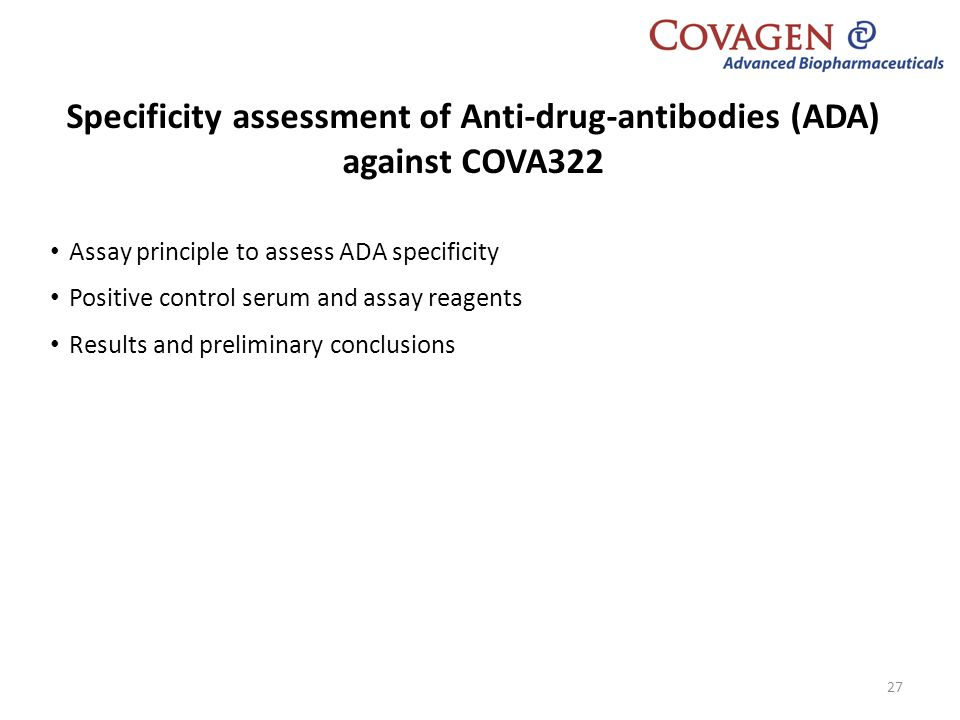 Specificity assessment of Anti-drug-antibodies (ADA) against COVA322