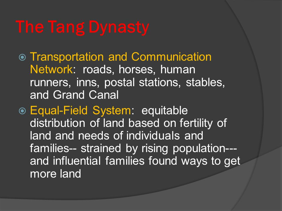 The Tang Dynasty Transportation and Communication Network: roads, horses, human runners, inns, postal stations, stables, and Grand Canal.