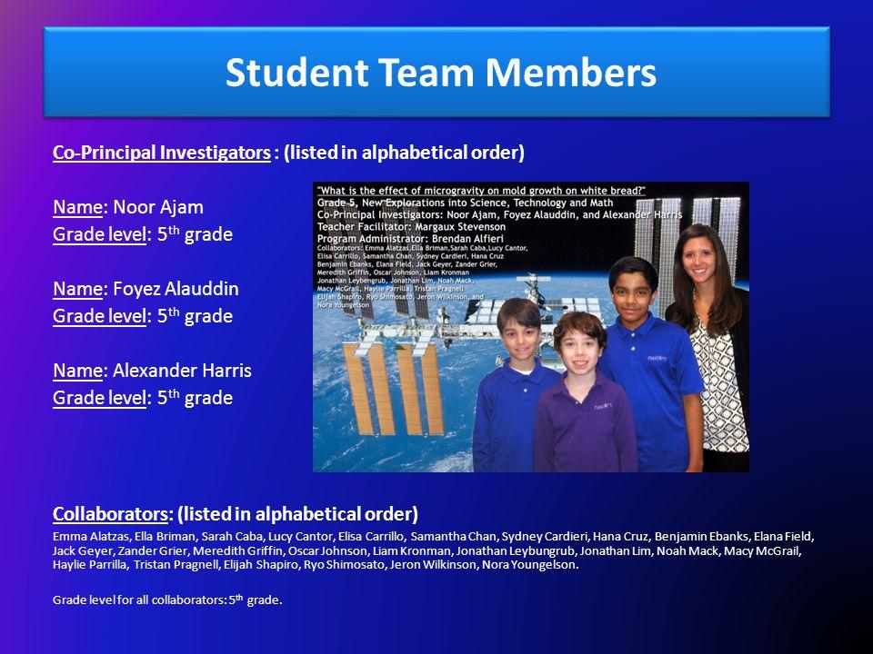 Student Team Members Co-Principal Investigators : (listed in alphabetical order) Name: Noor Ajam.