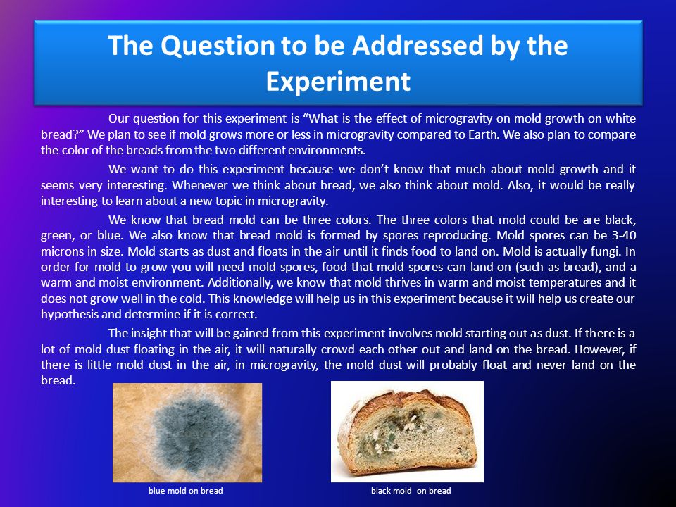 The Question to be Addressed by the Experiment